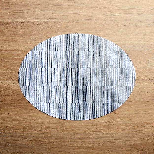 Chilewich ® Ridge Blue Oval Placemat - Image 1 of 2