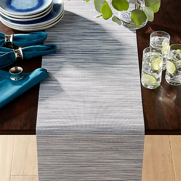 Chilewich Ridge Blue Table Runner Reviews Crate And Barrel