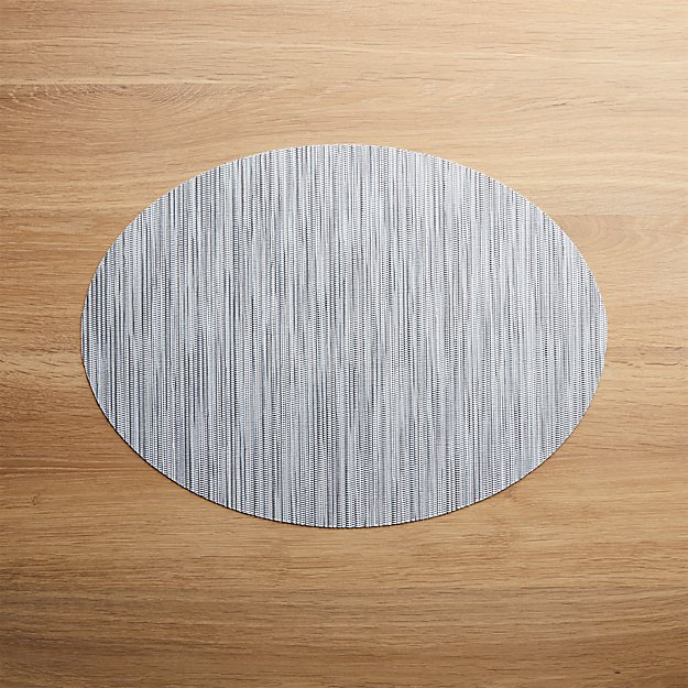 Chilewich ® Ridge Silver Oval Placemat - Image 1 of 2