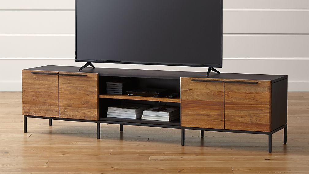Rigby Natural 80 5 Large Media Console With Base Reviews Crate And Barrel