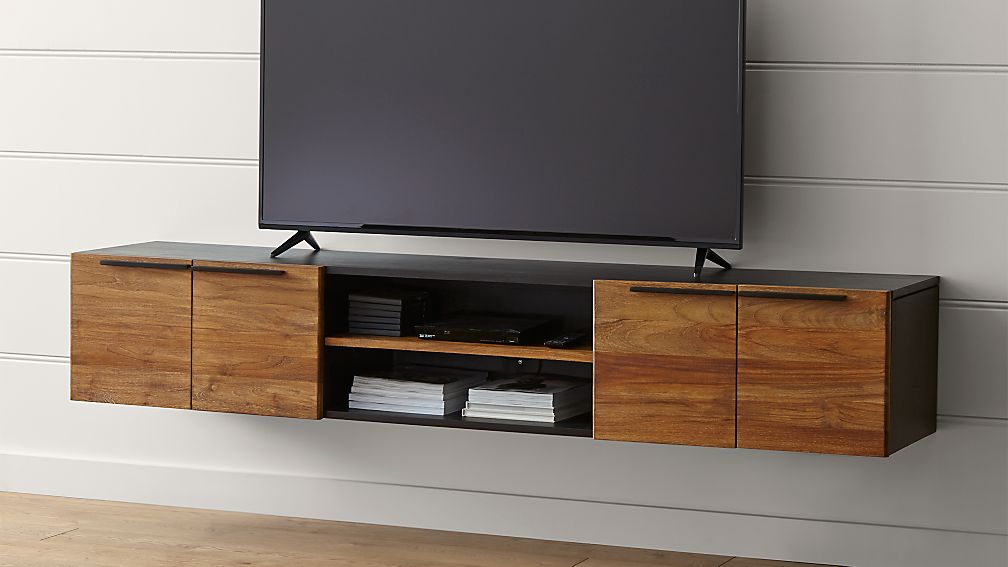 Rigby 80 5 large floating media console crate and barrel Wall mounted media console