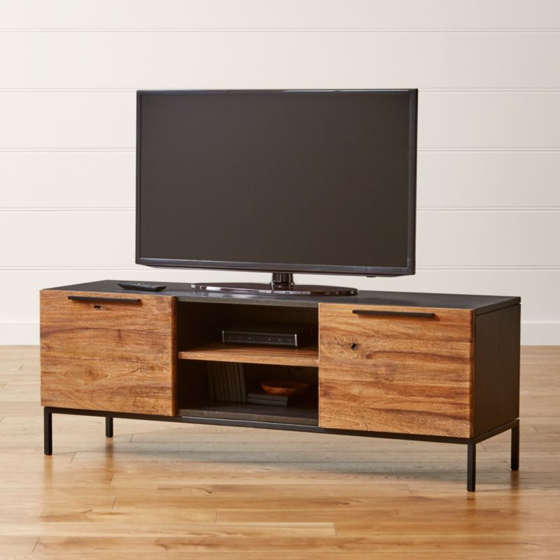 rigby natural 55 small media console with base reviews crate and barrel. Black Bedroom Furniture Sets. Home Design Ideas