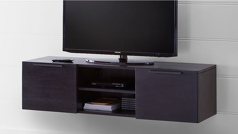"""Rigby 55"""" Small Floating Wenge Media Console - Image 1 of 6"""