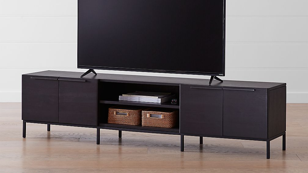"Rigby 80.5"" Wenge Media Console with Base - Image 1 of 6"