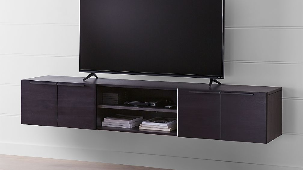 Rigby 80 5 Large Floating Wenge Media Console Reviews Crate And Barrel