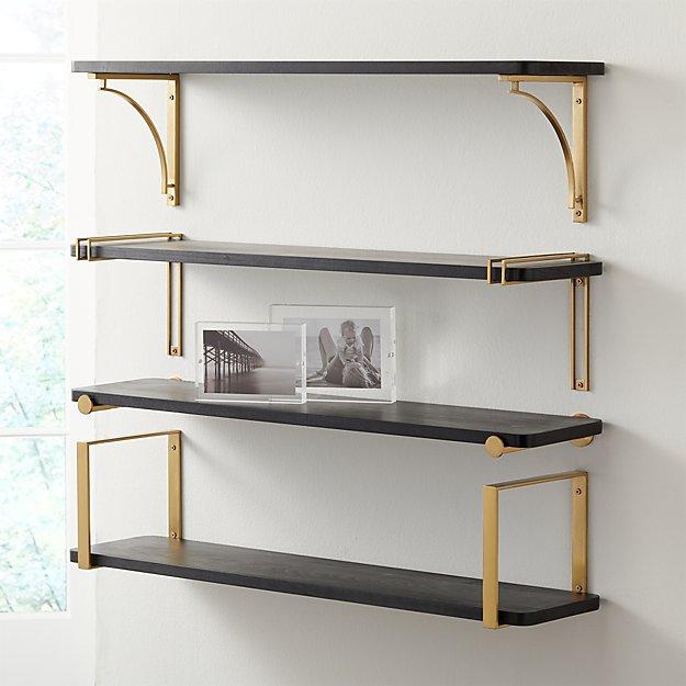 "Riggs 36"" Black Shelf with Brass Brackets - Image 1 of 7"