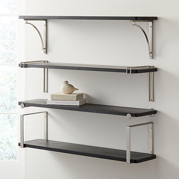 "Riggs 36"" Black Shelf with Nickel Brackets - Image 1 of 7"