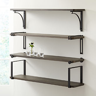 "Riggs 36"" Charcoal Shelf with Black Brackets"