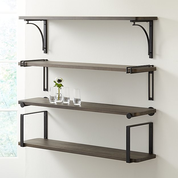 "Riggs 36"" Charcoal Shelf with Black Brackets - Image 1 of 9"
