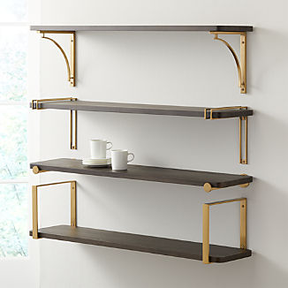 "Riggs 36"" Charcoal Shelf with Brass Brackets"