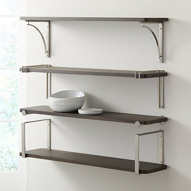 """Riggs 36"""" Charcoal Shelf with Nickel Brackets - Image 1 of 7"""