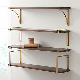 """Riggs 36"""" Walnut Shelf with Brass Brackets"""