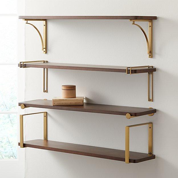 """Riggs 36"""" Walnut Shelf with Brass Brackets - Image 1 of 5"""