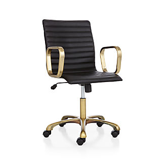 Ripple Black Leather Office Chair with Brass Frame