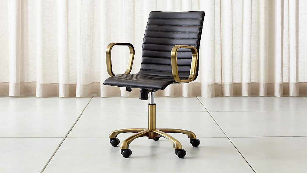 Ripple Black Leather Office Chair with Brass Frame Crate and Barrel