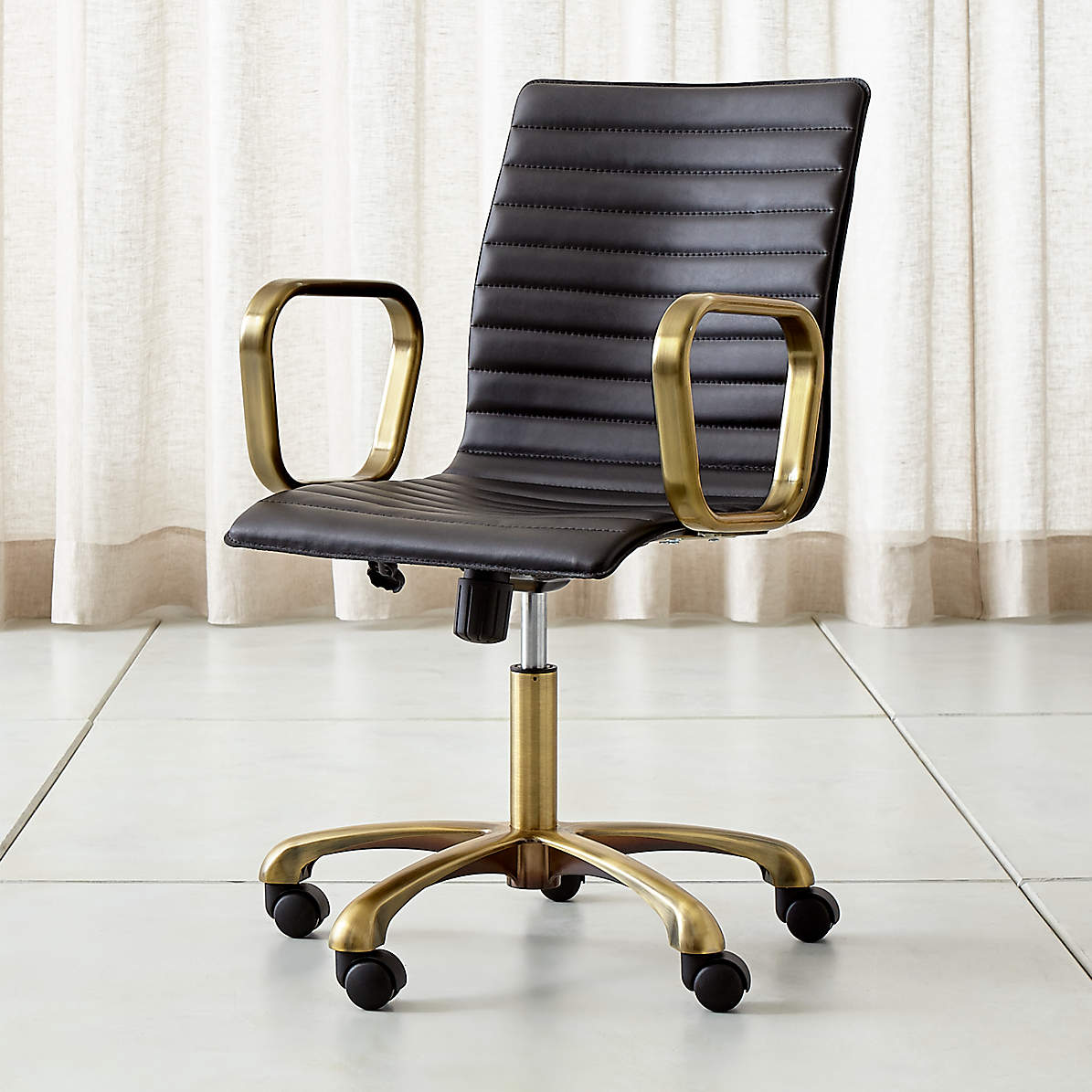 Ripple Black Leather Office Chair With Brass Frame Reviews Crate And Barrel