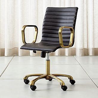 Ripple Black Leather Office Chair With Br Frame