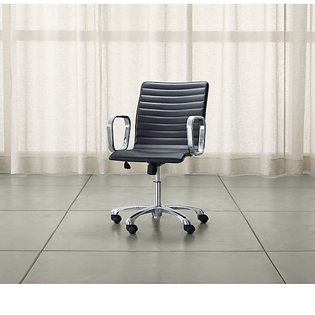 Ripple Black Leather Office Chair with Chrome Base - Image 1 of 11