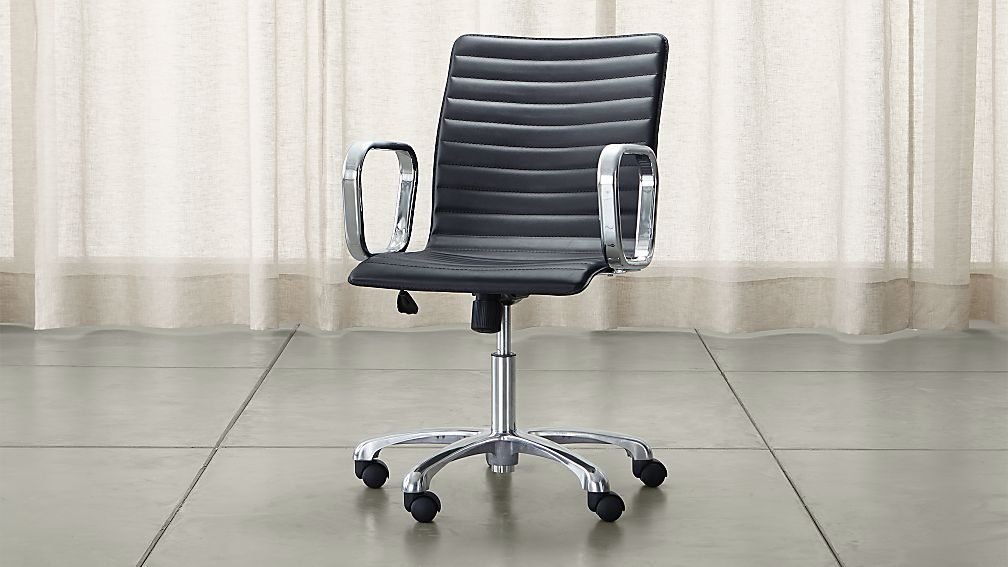 Ripple Black Leather Office Chair With Chrome Base