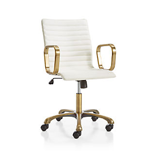 Ripple Ivory Leather Office Chair with Brass Frame