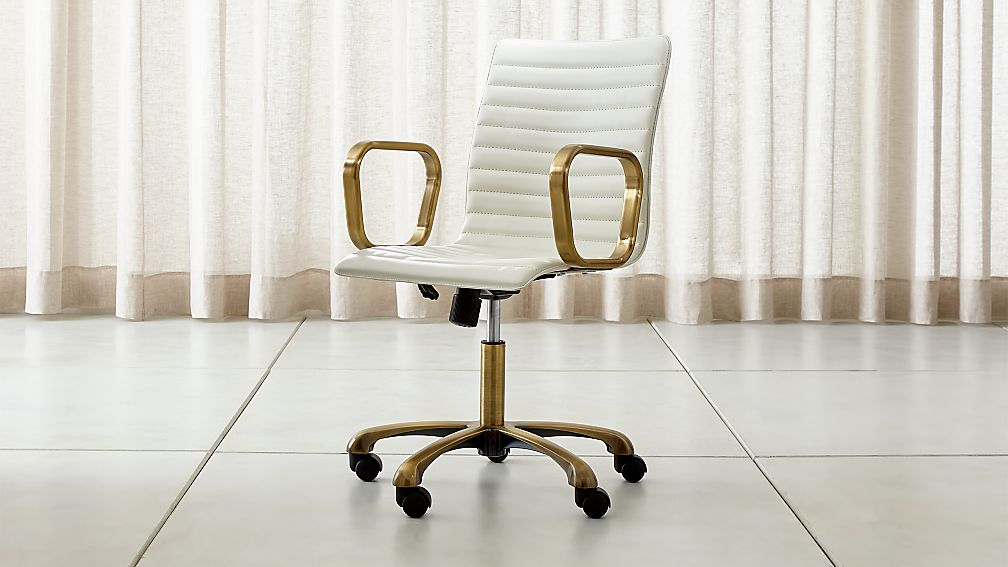 Ripple Ivory Leather Office Chair With Br Frame Reviews Crate And Barrel