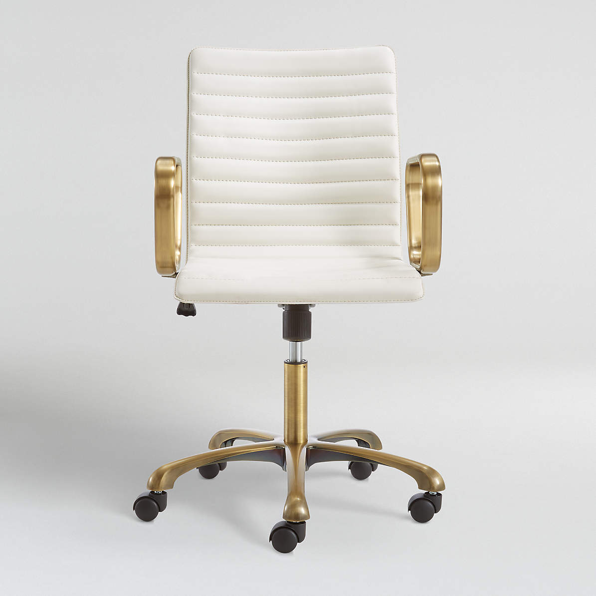 Ripple Ivory Leather Office Chair With Brass Frame Reviews Crate And Barrel
