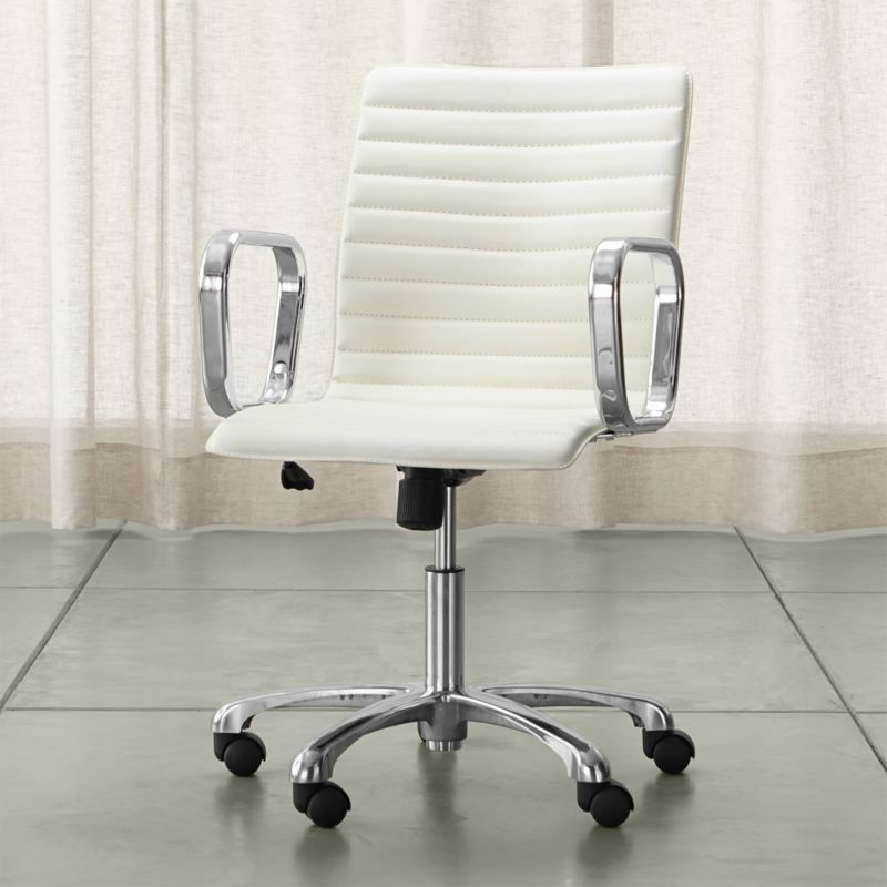 Ripple Ivory Leather Office Chair With Chrome Base Reviews Crate And Barrel