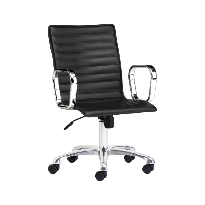 Ripple Black Leather Office Chair Crate and Barrel