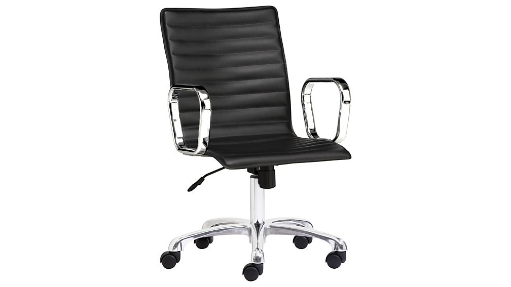 Ripple Black Leather Office Chair With Chrome Base Reviews Crate And Barrel