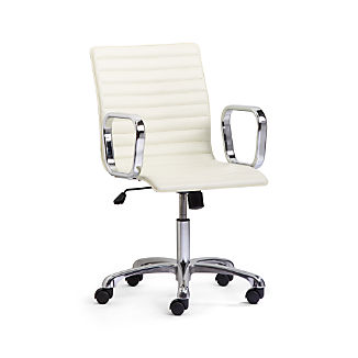 Ripple Ivory Leather Office Chair with Chrome Base