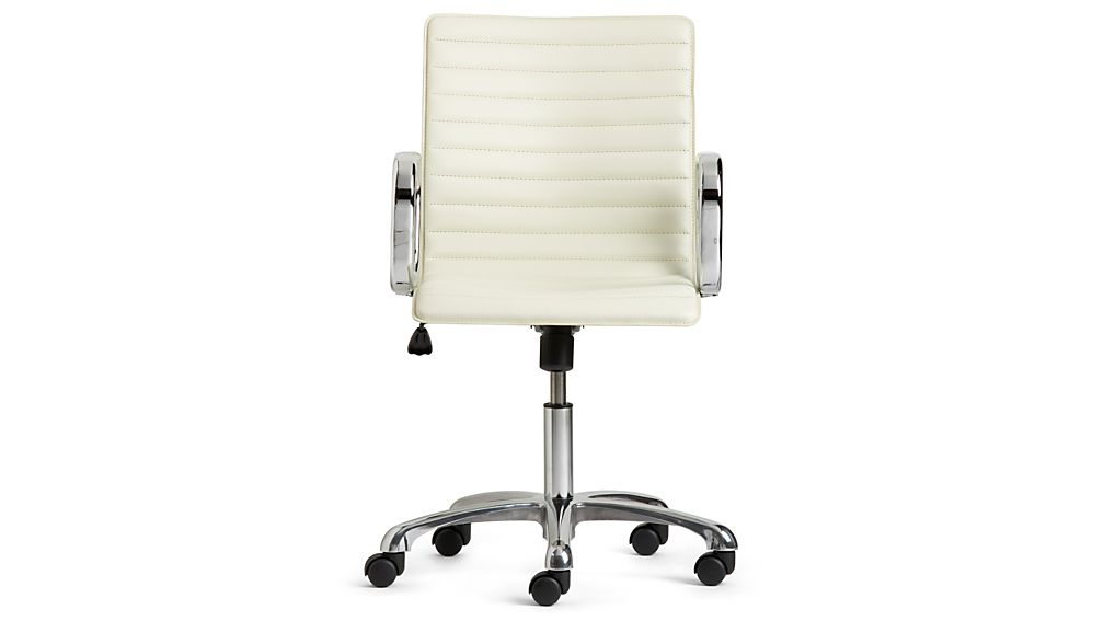 Ripple Ivory Leather Office Chair Crate and Barrel