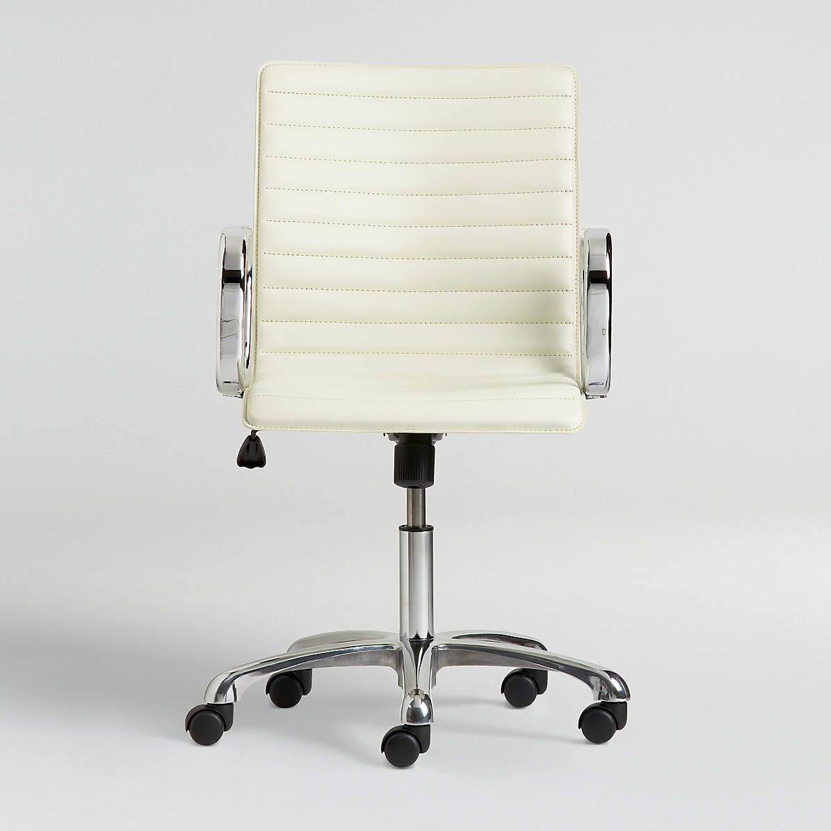 Ripple Ivory Leather Office Chair with Chrome Base + Reviews