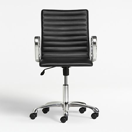 Ripple Black Leather Office Chair With