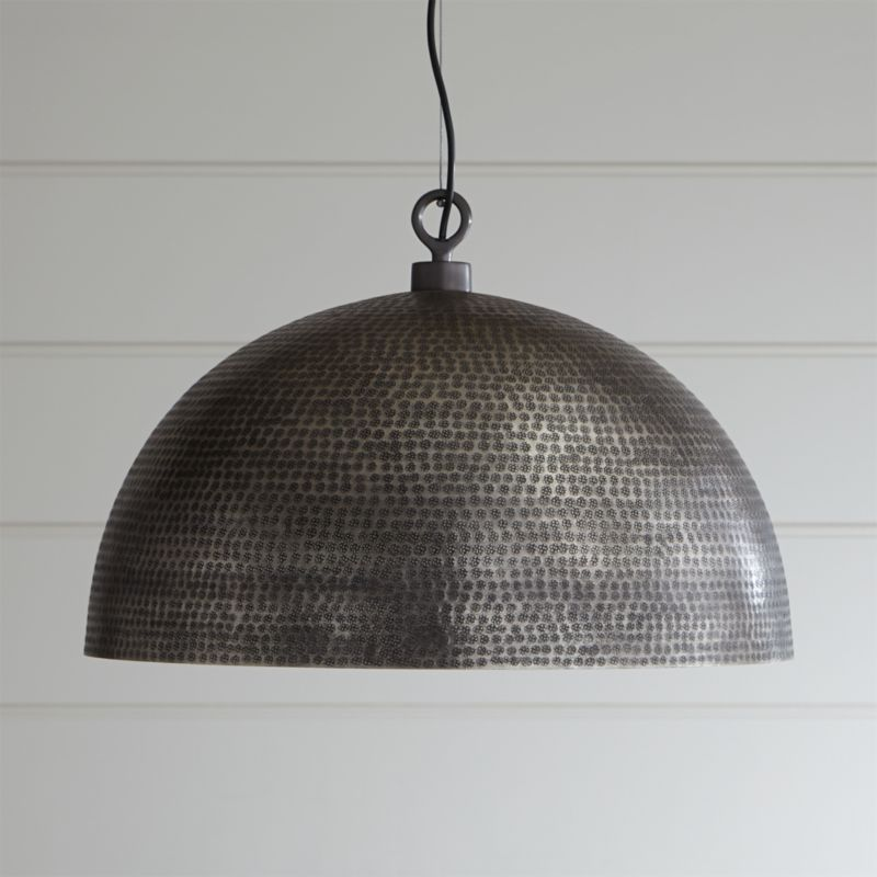 Pendant lighting and chandeliers crate and barrel rodan hammered metal pendant light mozeypictures