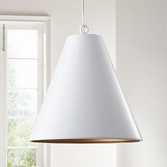 Rodan White Metal Cone Pendant Light