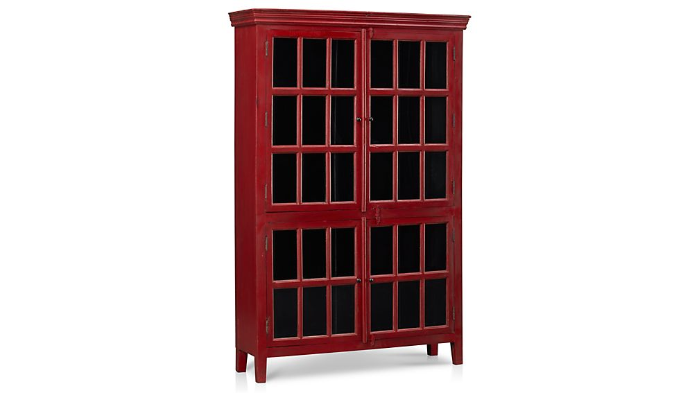 Rojo Red Tall Cabinet | Crate and Barrel