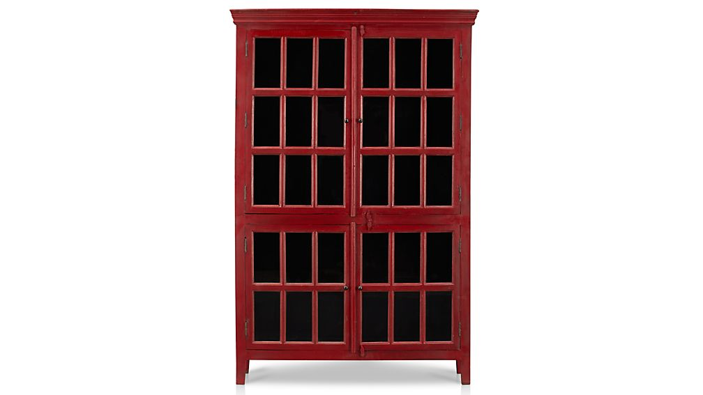 rojo red tall cabinet - Cabinet With Glass Doors