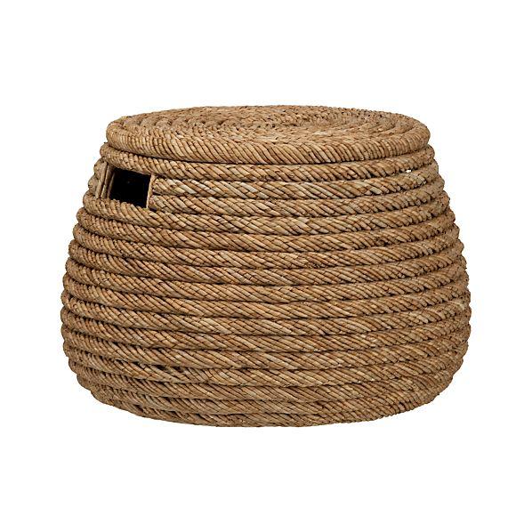 Roll Weave Storage Basket-Ottoman