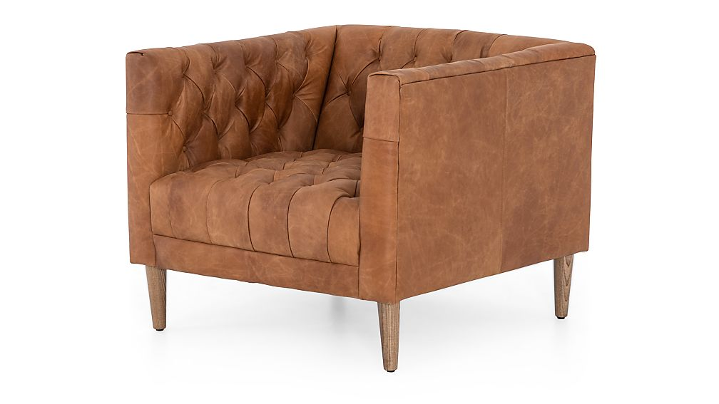 Rollins Leather Button Tufted Chair - Image 1 of 9