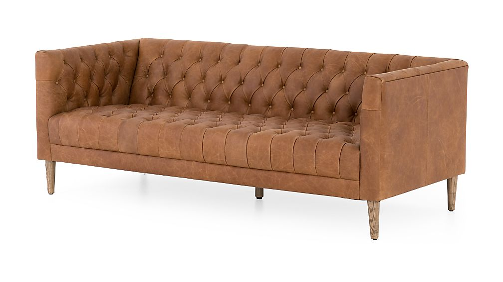 Rollins Leather Button Tufted Sofa - Image 1 of 11