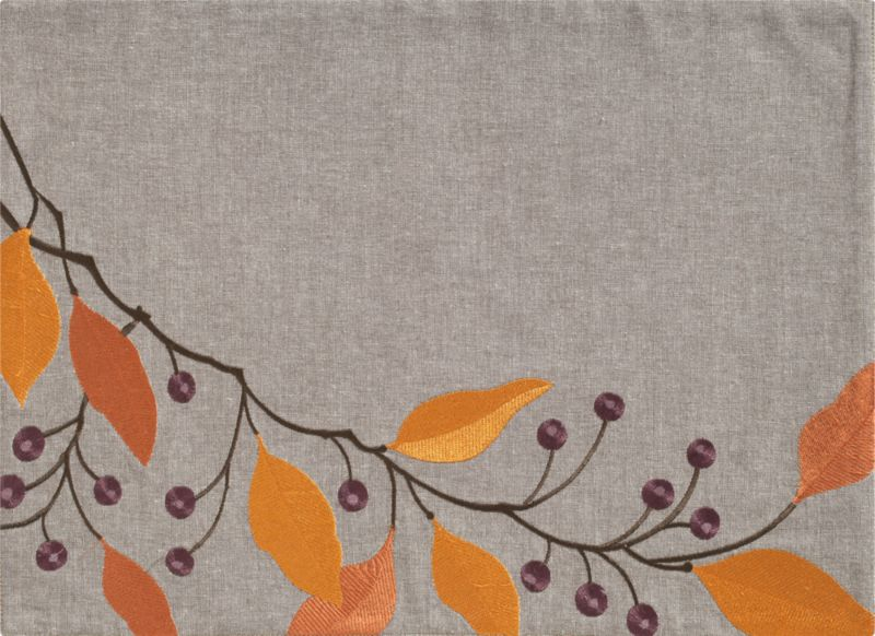 Amber and gold leaves branch asymmetrically with purple berries in raised-relief embroidery on brown cotton chambray with an organic linen look.<br /><br /><NEWTAG/><ul><li>100% cotton with rayon embroidery</li><li>Machine wash</li><li>Made in India</li></ul>