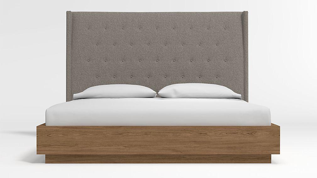 Ronin King Headboard with Batten Plinth-Base Bed Felt Grey - Image 1 of 3