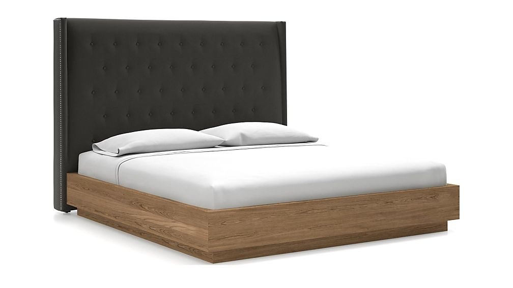 Ronin King Headboard with Batten Plinth-Base Bed Carbon - Image 1 of 1