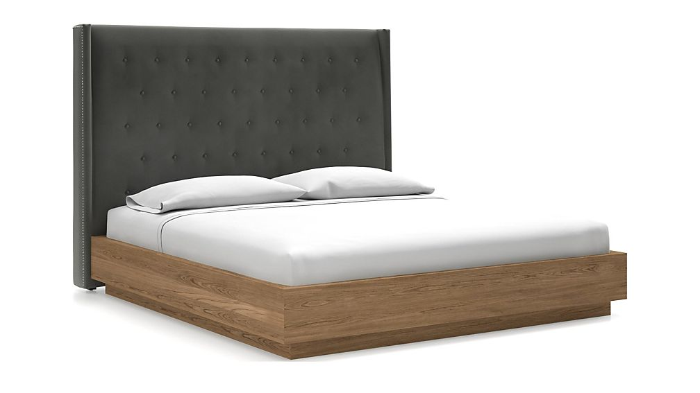 Ronin King Headboard with Batten Plinth-Base Bed Fog - Image 1 of 1