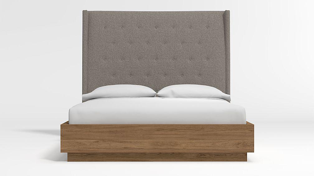 Ronin Queen Headboard with Batten Plinth-Base Bed Felt Grey - Image 1 of 3