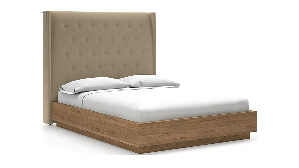 Ronin Queen Headboard with Batten Plinth-Base Bed Chalk - Image 1 of 1