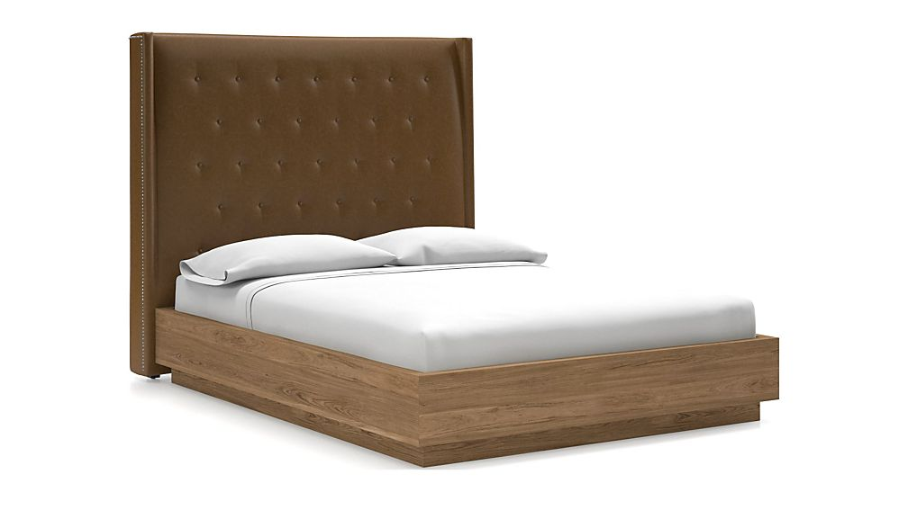 Ronin Queen Headboard with Batten Plinth-Base Bed Saddle Faux Leather - Image 1 of 1