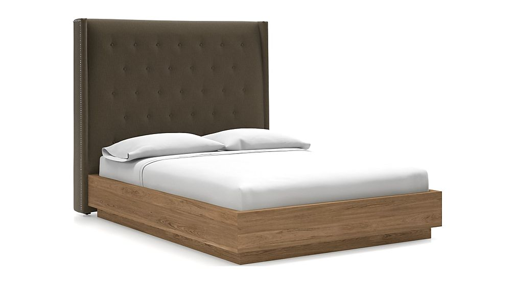 Ronin Queen Headboard with Batten Plinth-Base Bed Bark - Image 1 of 1