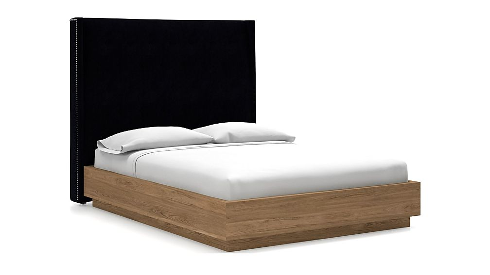 Ronin Queen Headboard with Batten Plinth-Base Bed Midnight - Image 1 of 1