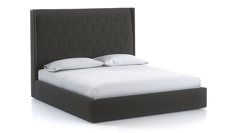 Ronin King Tufted Wingback Bed Carbon - Image 1 of 1
